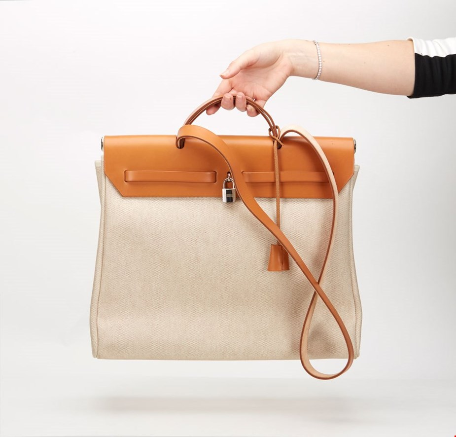 hermes Natural Leather & Canvas Herbag MM 2 in 1