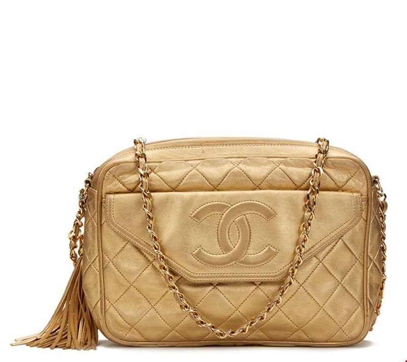 Chanel Gold Quilted Lambskin Vintage Camera Bag 1989