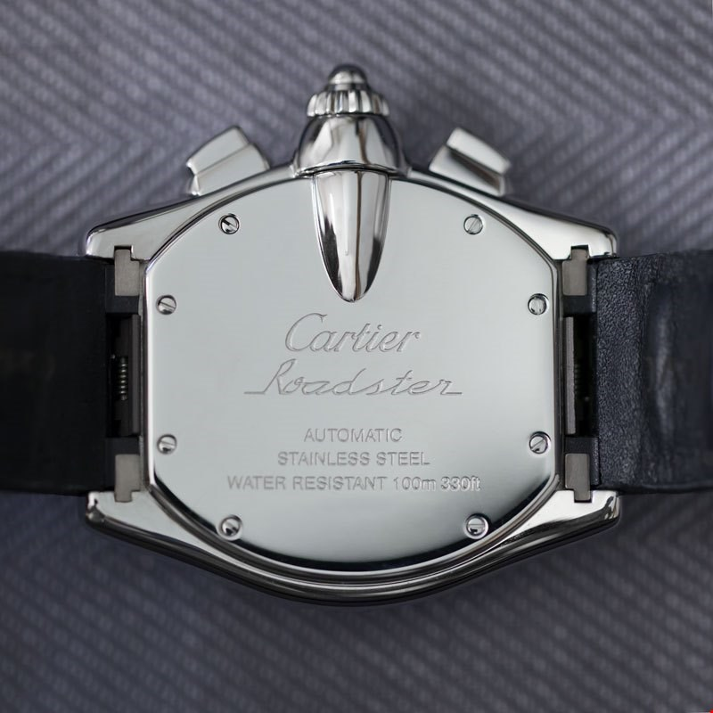 case back of cartier roadster XL chronograph