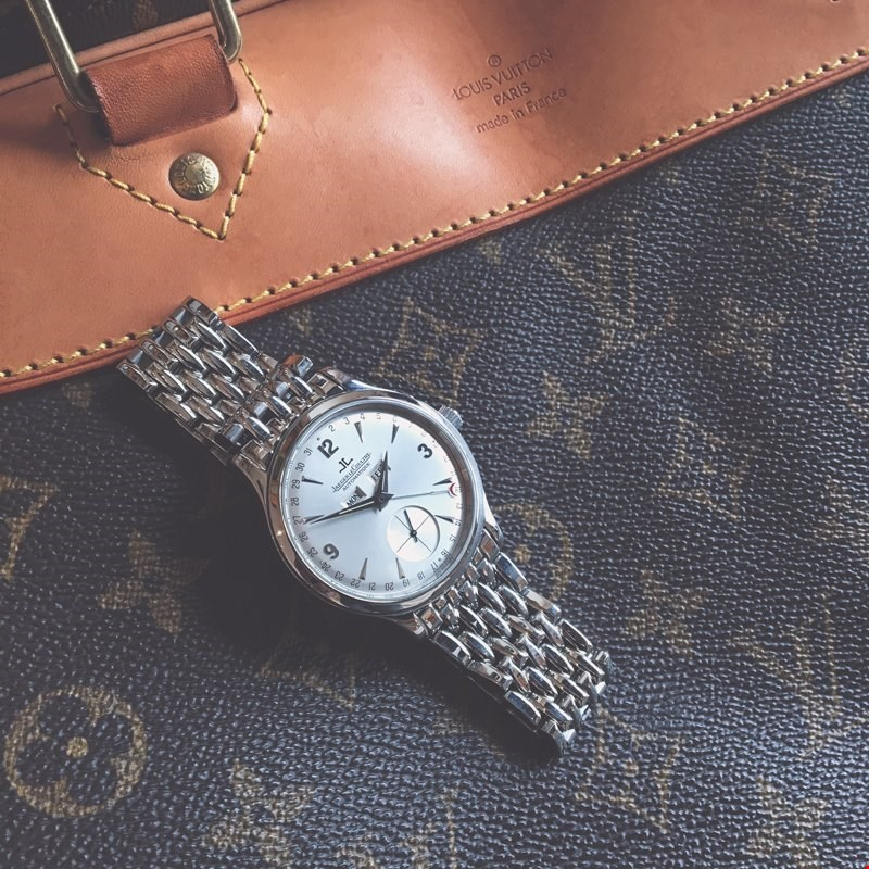 jaeger lecoultre master control triple date on a louis vuitton travel bag