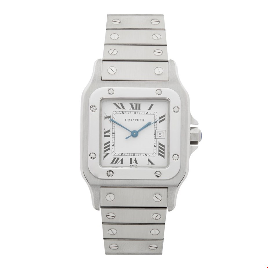 This is a pre-owned Cartier Santos gents 9172960 watch. 29mm by 41mm case size in stainless steel, white arabic dial on a stainless steel bracelet, powered by an automatic movement.