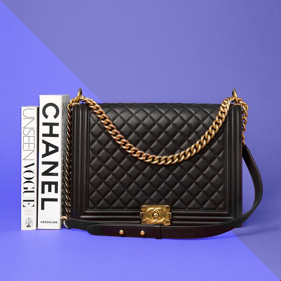 08f26244f42c CHANEL BLACK QUILTED LAMBSKIN LARGE LE BOY AVAILABLE AT XUPES