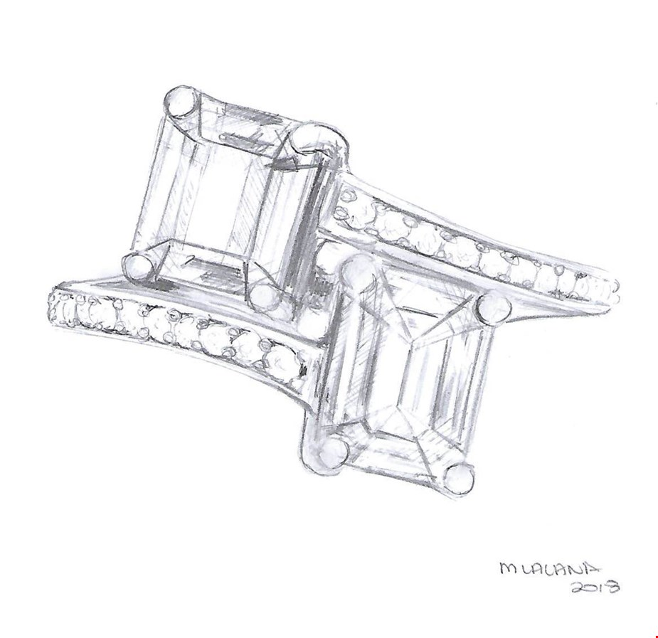 An emerald cut diamond and emerald moi et toi engagement ring with bead set diamond band from Taylor & Hart
