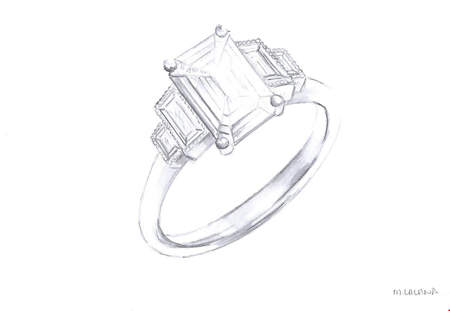 An emerald cut diamond engagement ring with diamond baguette side stones sketch from Taylor and Hart.