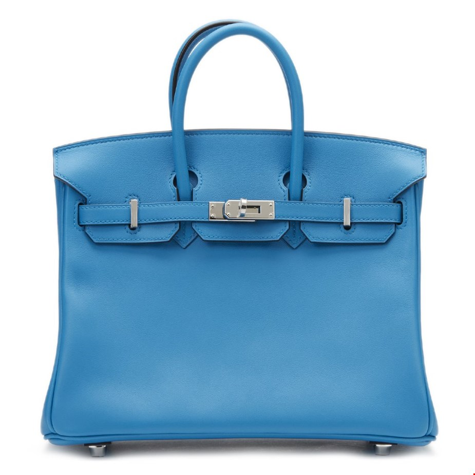 Xupes pre-owned Hermes blue Zanzibar swift leather Birkin