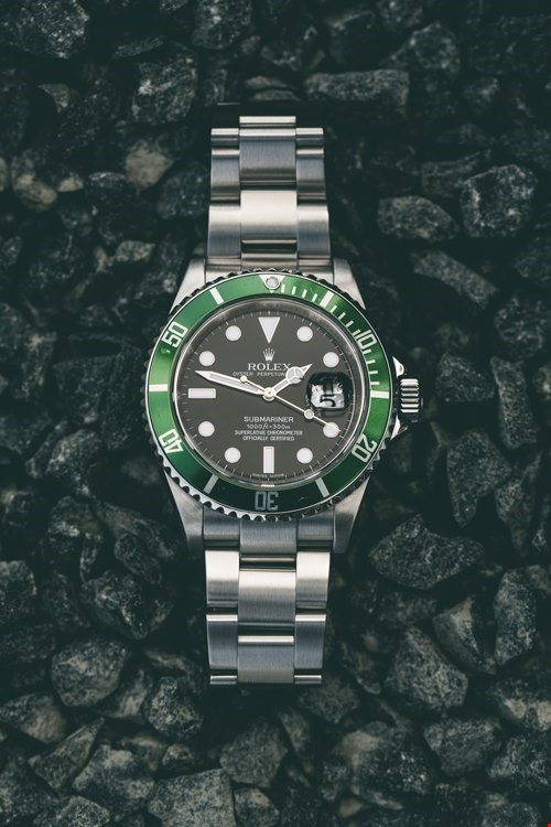 xupes pre-owned rolex submariner stainless steel kermit bezel