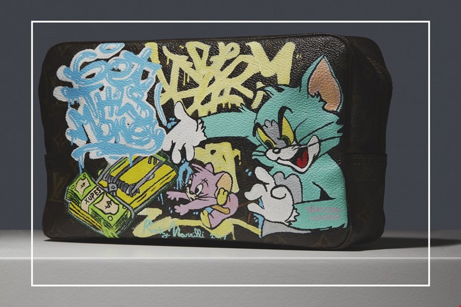 HAND-PAINTED 'GET THIS MONEY' XUPES X YEAR ZERO LONDON TOILETRY POUCH
