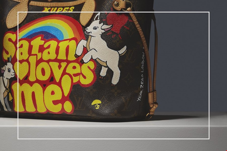 XUPES X YEAR ZERO LONDON HAND-PAINTED 'SATAN LOVES ME' BROWN MONOGRAM COATED CANVAS NEVERFULL PM