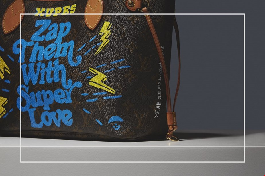 XUPES X YEAR ZERO LONDON HAND-PAINTED 'ZAP THEM WITH SUPER LOVE' BROWN MONOGRAM COATED CANVAS NEVERFULL PM