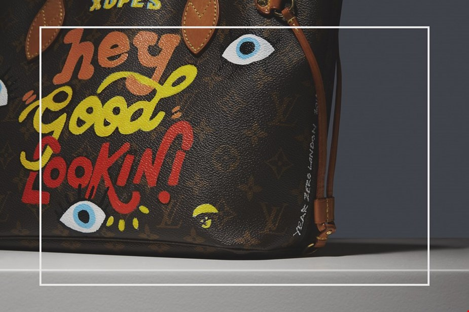 XUPES X YEAR ZERO LONDON HAND-PAINTED 'HEY GOOD LOOKIN' BROWN MONOGRAM COATED CANVAS NEVERFULL PM