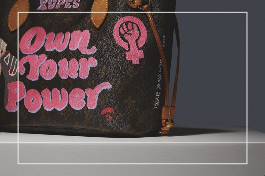 XUPES X YEAR ZERO LONDON HAND-PAINTED 'OWN YOUR POWER' BROWN MONOGRAM COATED CANVAS NEVERFULL PM