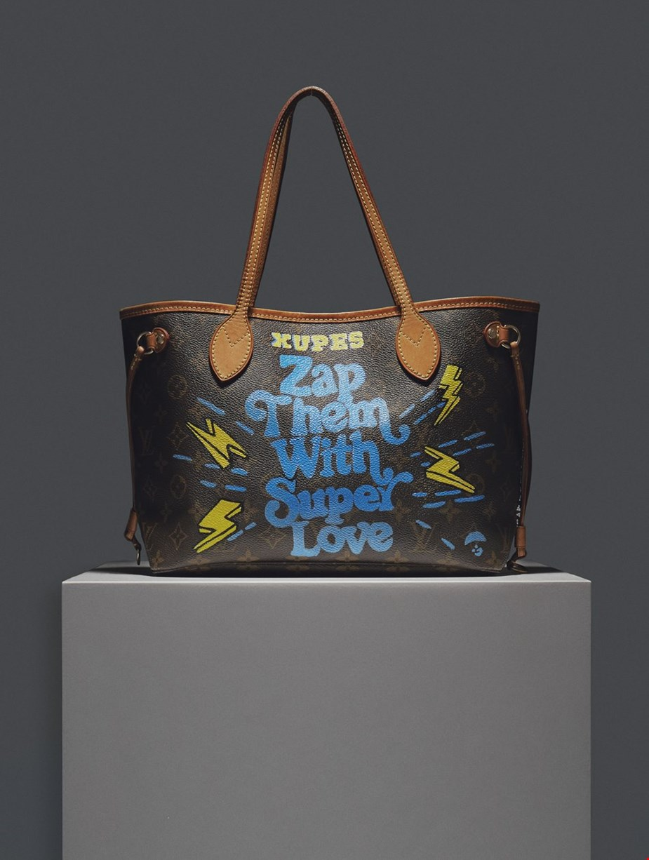 XUPES X YEAR ZERO LONDON HAND-PAINTED 'ZAP THEM WITH SUPER LOVE' BROWN MONOGRAM COATED CANVAS