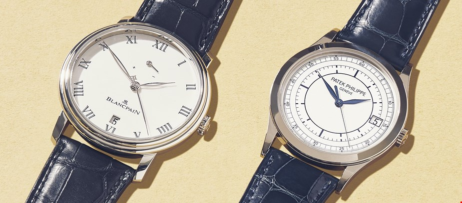 pre owned patek philippe calatrava 5296 vs blancpain villeret in platinum
