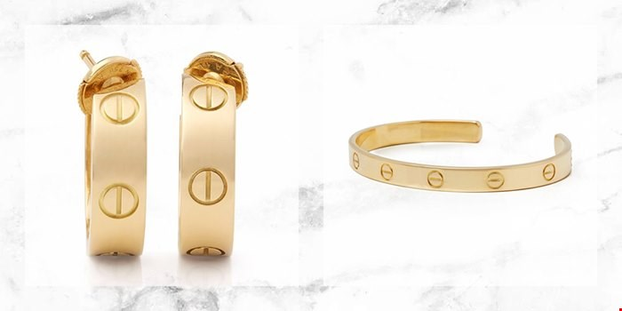 CARTIER LOVE EARRINGS AND LOVE BANGLE