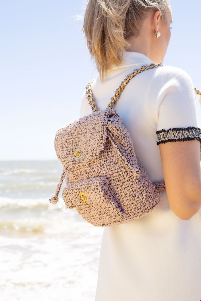 chanel lilac quilted tweed backpack