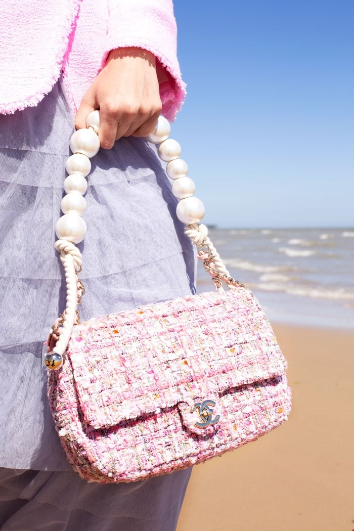 chanel pink tweed fabric and pearls classic single flap bag