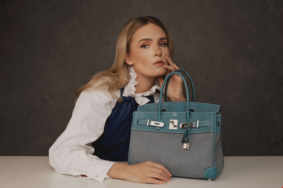 Hermes blue jean clemence leather and denim birkin