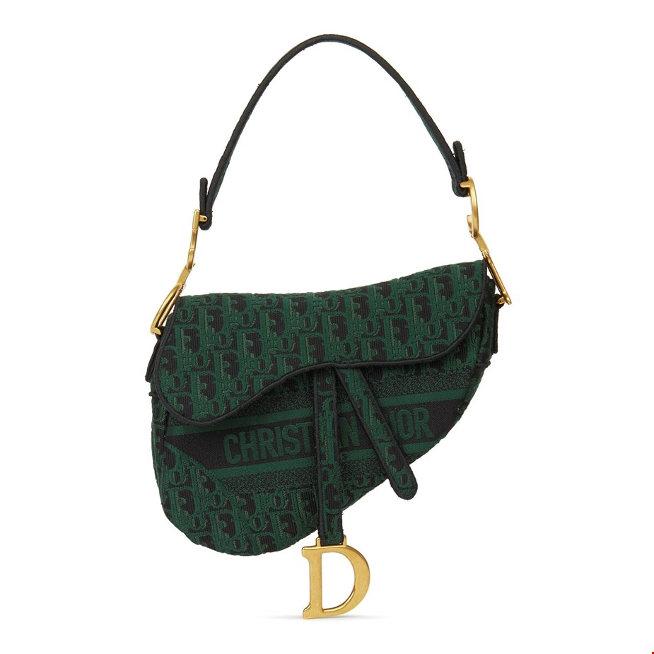 Green-Black-Oblique-Canvas-Saddle-Bag