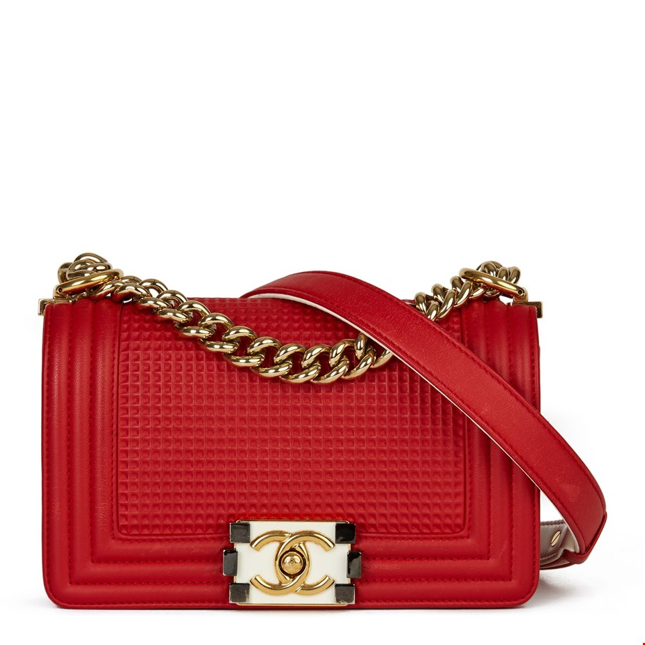 CHANEL RED & WHITE LAMBSKIN CUBE SMALL LE BOY