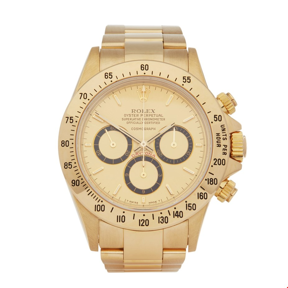 ROLEX DAYTONA ZENITH INVERTED 6 FLOATING COSMOGRAPH RARE 200 BEZEL 18K YELLOW GOLD 16528