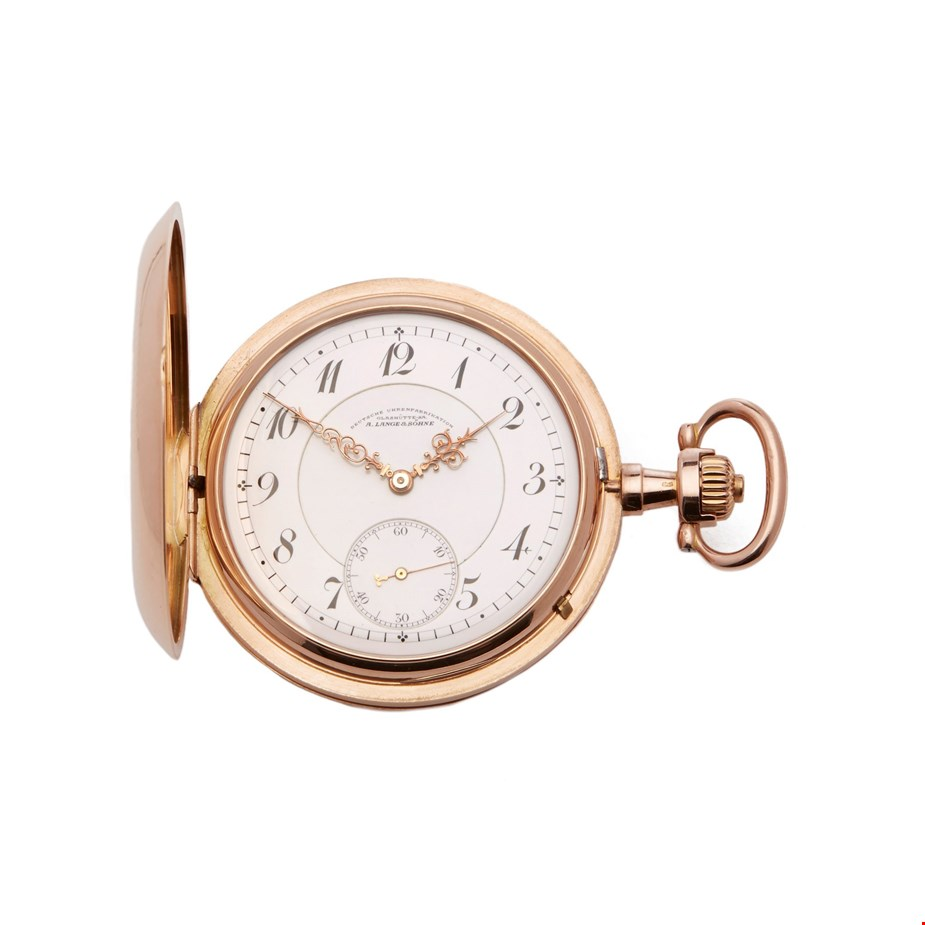 A. LANGE & SÖHNE POCKET WATCH HALF HUNTER CASE YELLOW GOLD CALIBRE 43