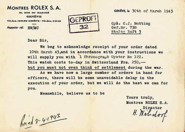 Hans Wilsdorf letter to Prisoners of War (POW).